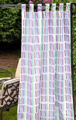 Gardenista Brush Design Water Resistant Outdoor Eyelet Curtain Panel - 55