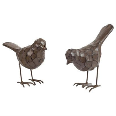 Set of 2 Vintage Cast Iron Bird Garden Ornaments