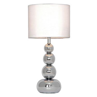 Marissa Touch Table Lamp, Chrome & White