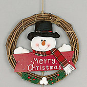 36cm Plaid Merry Christmas Snowman Hanging Wreath