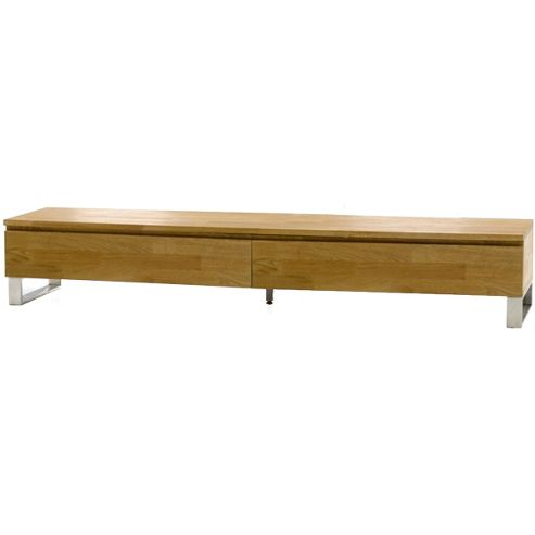 Cardinal Solid Oak TV Stand with Chrome Legs