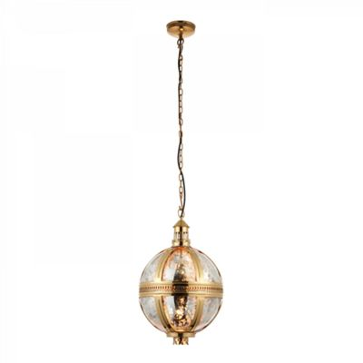 Solid Brass & Mercury Glass 305mm Pendant 40W