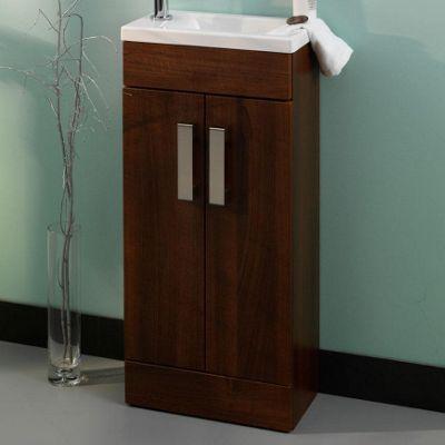 Duchy Tredrea Walnut Floor Standing 2 Door Vanity Unit and Basin - 390mm Wide x 213mm Deep