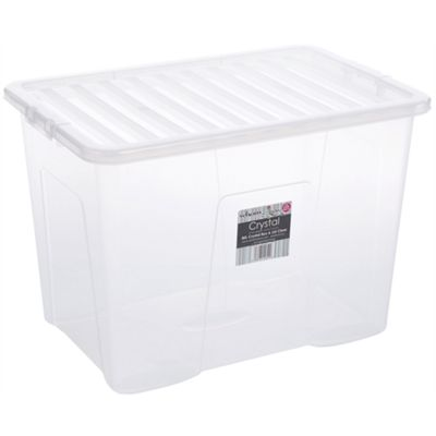 Wham 80L Crystal Box & Lid Clear - Pack of 2