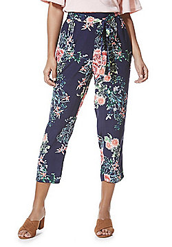 F&F Floral Tie Waist Cropped Peg Trousers - Navy & Multi