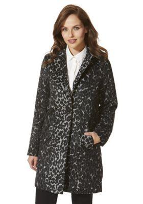 Vero Moda Leopard Print Boyfriend Coat S Black & Grey