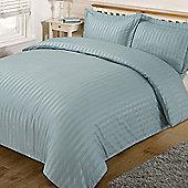 Dreamscene Satin Stripe Quilt Duvet Cover with Pillow Case Single Double King - Duck egg blue