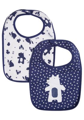 F&F 2 Pack of Bear Feeder Bibs One Size Blue & White