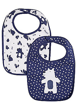 F&F 2 Pack of Bear Feeder Bibs - Blue