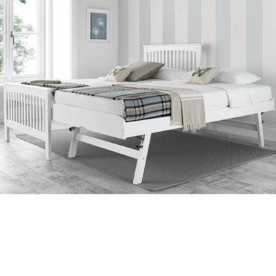 Happy Beds Toronto Wood Guest Bed and Underbed Trundle with 2 Memory Foam Mattresses - White - 3ft Single