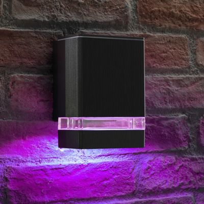 Auraglow Double Up or Down Wall Light - BUCKWORTH - Black - Colour Changing - 2 Pack