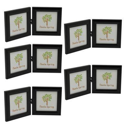 Black 4x4 Folding Double Photo Frame - Standing - Pack of 5