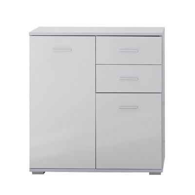 Homcom High Gloss Side Cabinet Table Sideboard Chest of Drawer Bedroom (White)