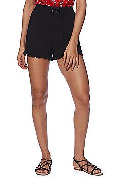 Vero Moda Frill Hem Drawstring Shorts - Black