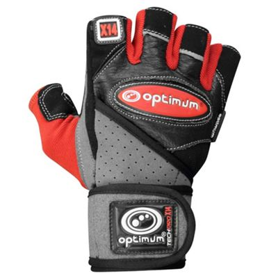 Optimum Techpro X14 Weightlifting Gloves Black/Red - L