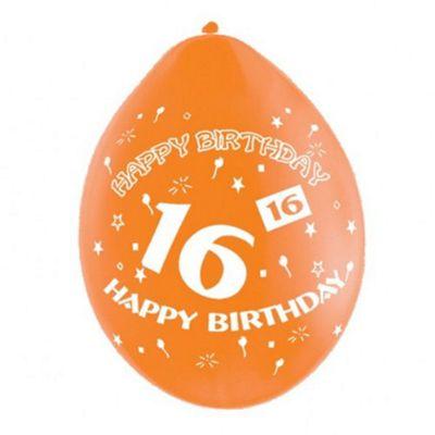 Pack Of 10 16th Birthday Latex Balloons - Balloons - Amscan