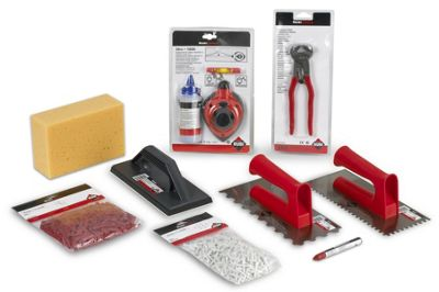 Rubi Tiling Kit – Tile Nippers, Grout Float, Wall & Floor Trowel, Sponge, Chalk Line & Tile Spacers.