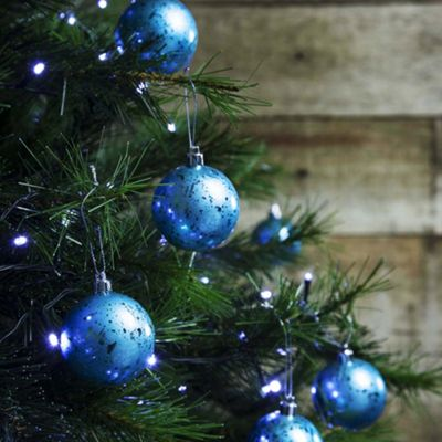 12pcs 6cm Shatterproof Ice Blue Foil Christmas Tree Bauble Decorations