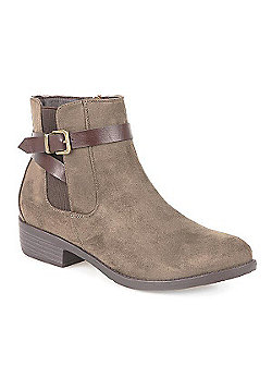 Pavers Ankle Boot with Buckle Black - 3 - Beige