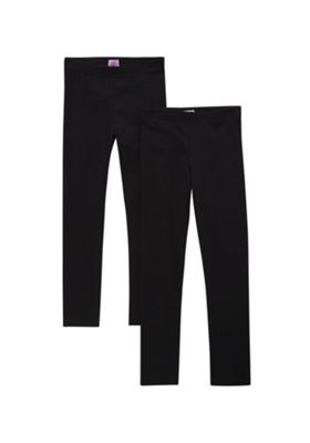 F&F 2 Pack of Leggings with As New Technology 7-8 years Black