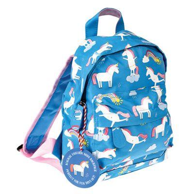 Nursery Backpacks, Kids Mini Rucksacks, Mini Toddler Backpack - Blue Unicorns