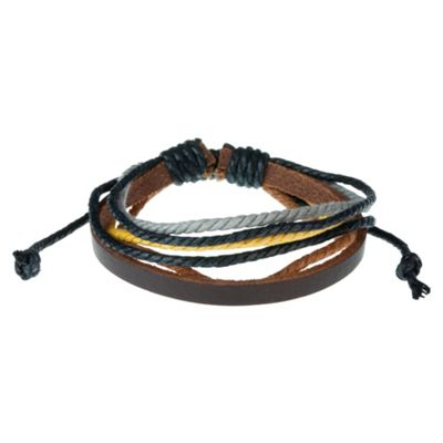 Urban Male 'Palomino' Brown Leather & Coloured Cord Surf Bracelet for Men