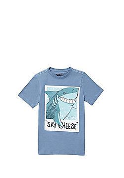 F&F Say Cheese Slogan Shark T-Shirt - Blue