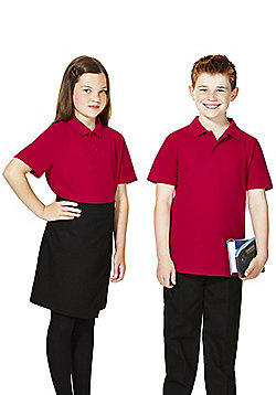F&F School 2 Pack of Unisex Polo Shirts with As New Technology - Red