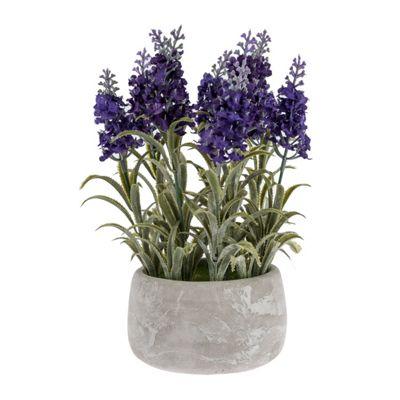 Homescapes Purple Artificial Lavender Plant in White Concrete Pot
