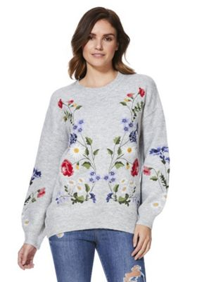 F&F Floral Embroidered Blouson Sleeve Jumper Grey 16