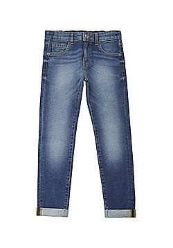 F&F Turn-Up Hem Stretch Skinny Jeans - Mid wash