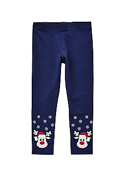 F&F Embroidered Rudolph Reindeer Leggings with As New Technology - Navy