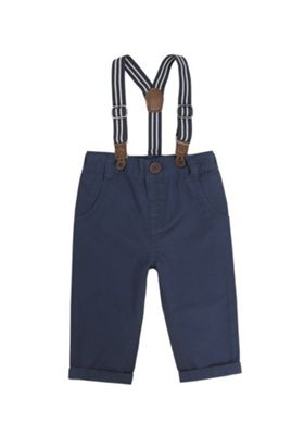 F&F Twill Chinos with Striped Braces Navy 3-6 months
