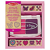 Wooden Butterfly & Hearts Stamp Set - Melissa & Doug