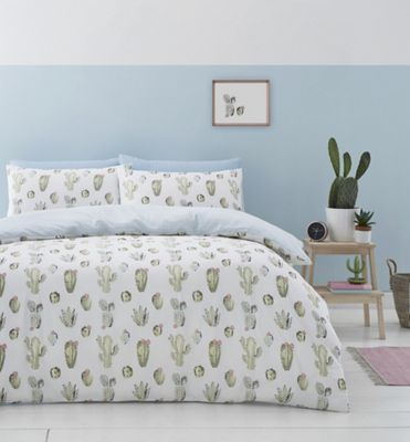 Catherine Lansfield Cactus duvet cover and pillowcase set - green - single