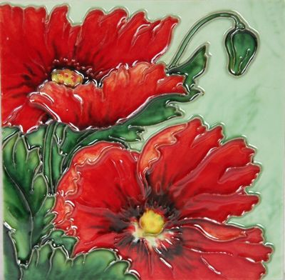 YH Arts Ceramic Wall Art, Red Poppy Design 1 6 x 6