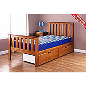 Airsprung Napoli Wooden High Foot End Bed Frame - Cinnamon - Single 3ft - 2 Drawers