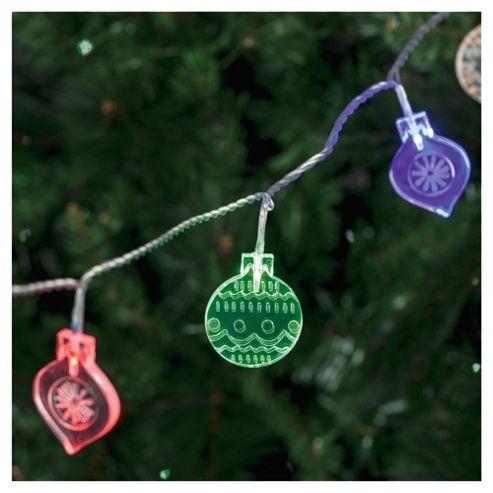 Tesco 20 LED Mixed Bauble Christmas Lights