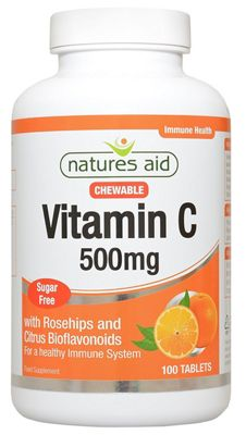 Natures Aid Vitamin C 500mg Sugar Free Chewable - 100 Tablets