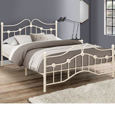 Happy Beds Canterbury Metal Bed with Open Coil Spring Mattress - Cream - 4ft6 Double