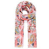 Pink Floral Print Scarf