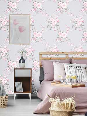 Catherine Lansfield Canterbury Pink and Grey Wallpaper P+S 05653-20