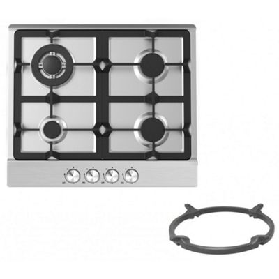 Cookology GH609SS | 60cm 4 Burner Gas Hob in Stainless Steel & Wok Stand