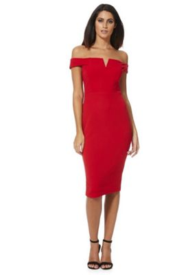 AX Paris Bardot Bodycon Dress 10 Red