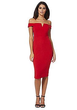 AX Paris Bardot Bodycon Dress - Red