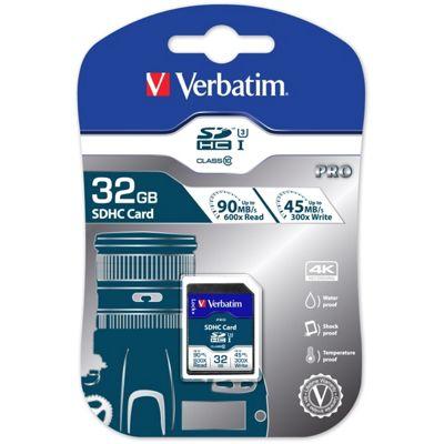 Verbatim PRO Flash memory card - 32 GB SDHC UHS-I - UHS Class 3 / Class10 - Black