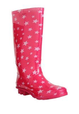 F&F Glitter Star Wellies Pink Adult 5