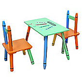 Kiddi Style Crayon Childrens Themed Wooden Table & 2 Chair Set - Green
