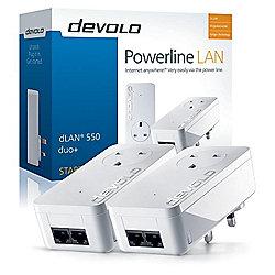 Devolo dLAN 550 Duo+ Powerline Starter Kit (2 LAN Ports, Pass Through, 500 Mbps)