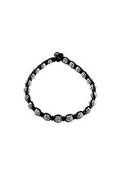Briouze - Tresor Paris Anklet Ankle Bracelet - White - 8mm - 10' Crystal & Magnetite - Black Cord